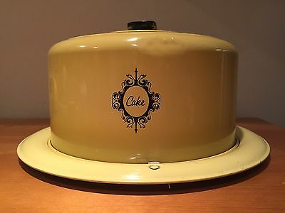 """Vintage. West Bend Mustard Yellow Covered Cake Carrier, 10""""D X 5""""T; Lid Locks"""