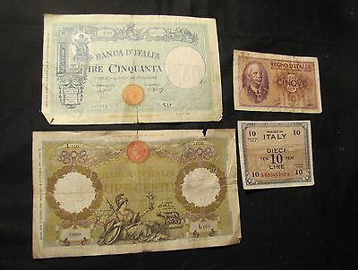 Lot of 4 Italy Notes - 1935 100 Lire, 1943 50, 1943-A 10, 1940 5