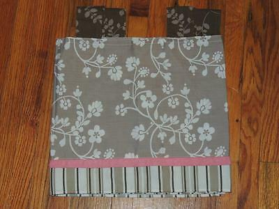"""Cocalo Mia Rose Valance Tab Top Baby Nursery 53"""" X 12"""" Floral Stripe Brown Pink"""
