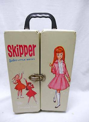 Old SKIPPER Barbie Doll Case with SKIPPER DOLL CLOTHES & Ice Skates