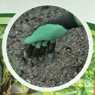 1Pair Garden Genie Dig Plant Gloves Fingertips Rose Pruning Right Hand Claw