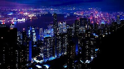City Night Sky Blue attraction / Canvas Print wall home Decor choose your size