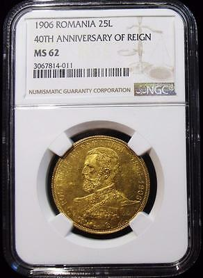 Romania: Carol I gold 25 Lei 1906, KM38, MS62 NGC, 40th anniversary of reign.
