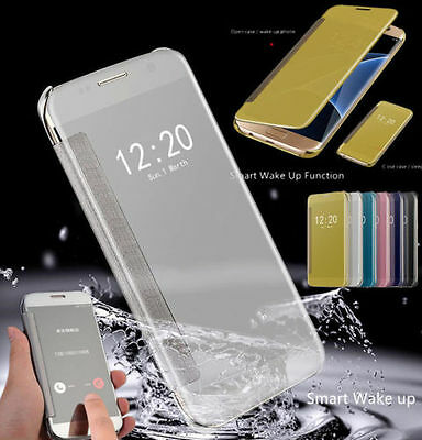 Luxury Window View Mirror Flip Hard Protective Case Cover for Samsung Galaxy S8
