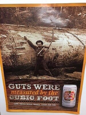 """Lucky Lager Beer Poster - """"Guts were measured by the cubic foot"""""""