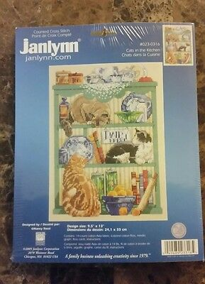CATS in the kitchen Nancy Rossi Kooler Janlynn Counted Cross Stitch Kit 023-0316