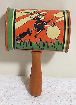 Old Halloween T Cohn Metal Noise Maker Wood Handle Witch Ghost Bat etc