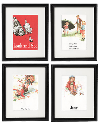Dick and Jane Matted Art Prints Baby Nursery Wall Art Vintage Decor