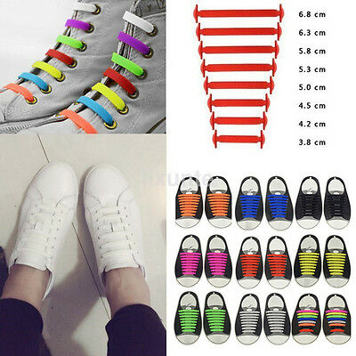 16PCS Multicolor No Tie Shoelaces Rubber Silicone Slip Easy Sneaker Shoe Laces