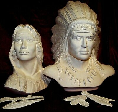 Ceramic Bisque Ready to Paint Indian Chef and Maiden a loving Pair