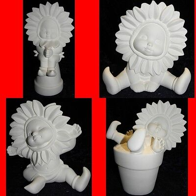 Ready to Paint Ceramic Bisque Large Sunflower Baby - choice of 4-13cm to 23cm T