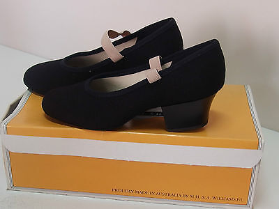 Annara Character Shoes, Black Canvas and Leather, Cuban Heel, New