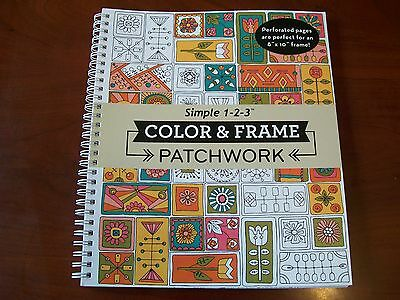 Adult Coloring Book Color & Frame Patchwork - Soothing Stress Relief Art - NEW