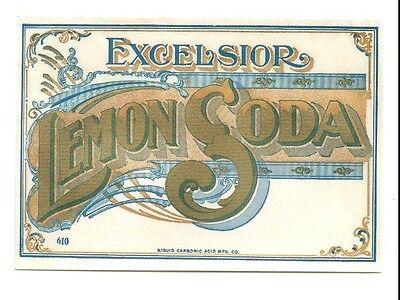 EXCELSIOR LEMON SODA BOTTLE LABEL by THE LIQUID CARBONIC ACID MFG CO CHICAGO ILL