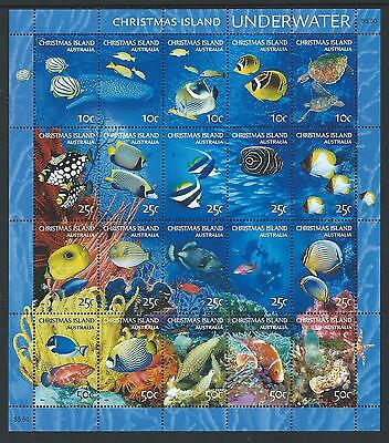 2004 CHRISTMAS ISLAND Underwater Sheetlet MNH (SG 543a)