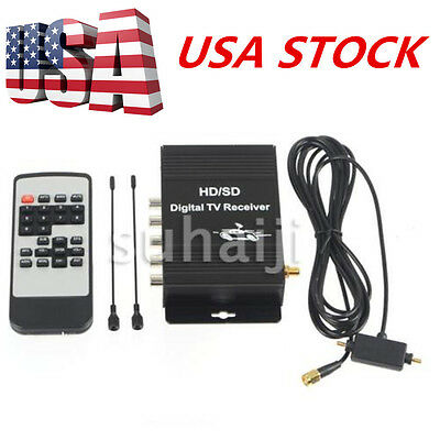 Car Digital TV ATSC Tuner Receiver Box with 4 Video Output for United States