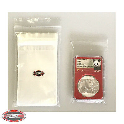 "100 - RESEALABLE BAGS for PCGS, NGC & ANACS GRADED COIN SLABS - 2-3/4"" x 3-7/8"""