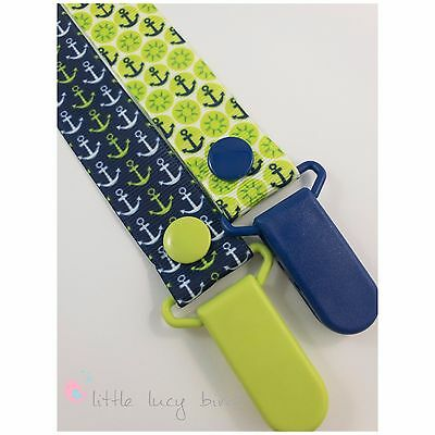 Anchors - Navy- Lime Dummy Clip - Pacifier Clips - Soother Chain (DC100401/1-2)