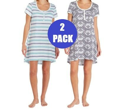 cd1fe3be08 New Womens Small 2 Pack Lucky Brand Blues Henley Sleep Shirt Nightgown  Pajamas