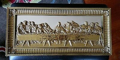 VINTAGE Homeco Jesus The Last Supper Mirrored Gold Wall Plaque