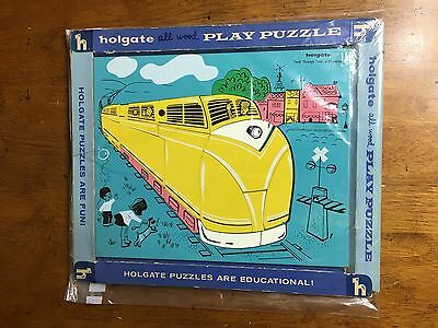 Vintage Holgate all wood play puzzle train through town 11 1/2 x 9 1/2 toys
