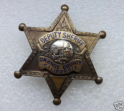 Vintage 1940's Orange County CALIFORNIA Deputy Sheriff BADGE Early Style Clasp