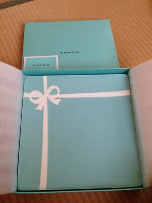 "NEW Tiffany & Co blue box ribbon square plate 24.5 cm 9.6""dish from JAPAN F/S"