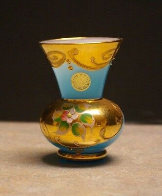 "Vintage Original 'murano' Blue Irradescent Gold Gilt Floral 3"" Tall Glass Vase"