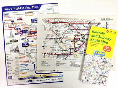 JAPAN Tokyo Sightseeing Map + Railway and  Subway Route Map + JR East RL Network