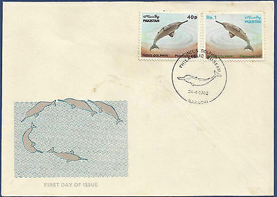 Pakistan 1982 Mnh Fdc Indus Blind Dolphin 8Th Wild Life Series Wildlife Fish