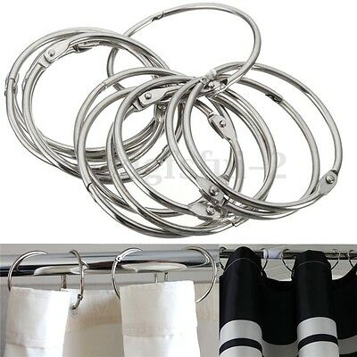 12Pcs Shower Curtain Rings Rail Hooks Chrome Plated Round Bead Easy Glide