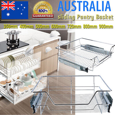 Pull Out Pantry Drawer Basket Wire Slide Roll Kitchen Storage Cupboard 350-600mm