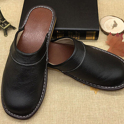 Gents Cow Leather Slippers for Men Soft Sole Slides Home Floor Indoor Sandals