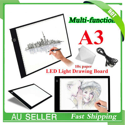 A3 LED Light Box Tracing Board Art Design Stencil Drawing Pad Copy Lightbox 8mm
