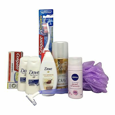 Womens travel size toiletries set ready in airport approved bag for hand luggage