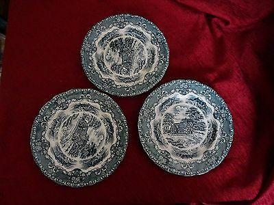 """Set of 3 Vintage Grindley """"English Country Inns"""" green & white side plates"""