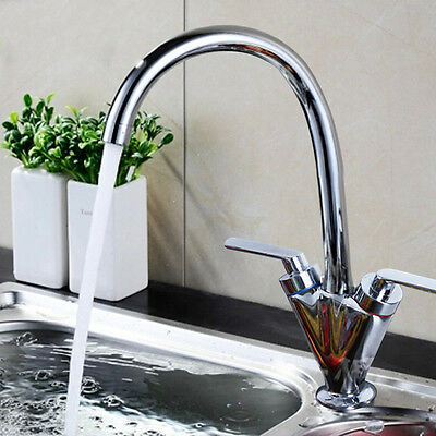 Chrome Kitchen Mono Sink Basin Tap Designer Modern Mixer Twin Lever Swivel UK