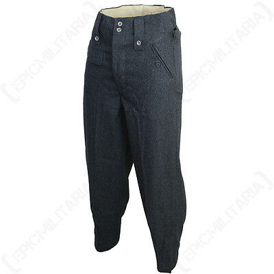 WW2 Luftwaffe M43 Wool Trousers - Repro German Pilot Blue Pants Uniform All Size