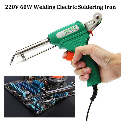 220V 60W Auto Welding Electric Metal Soldering Iron Gun Solder Tool + Tin Stent