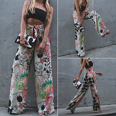 Fashion Women Loose Stretch High Waist Wide Leg Long Pants Palazzo Trousers
