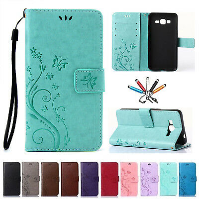Butterfly Pattern PU Flip Leather Wallet Card Case Stand Cover For Samsung Phone