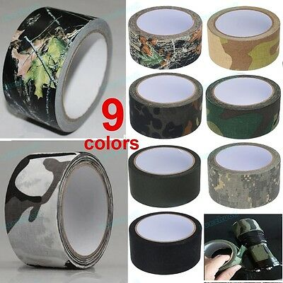 10M Camouflage Wrap Rifle Gun Hunting Waterproof Camo Stealth Duct Tape 5CM Wide