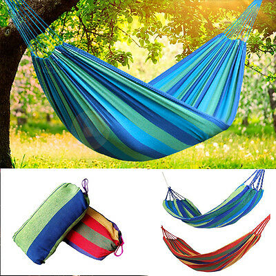 Outdoor Portable Canvas Hanging Hammock Camping Travel Garden Beach Swing Bed