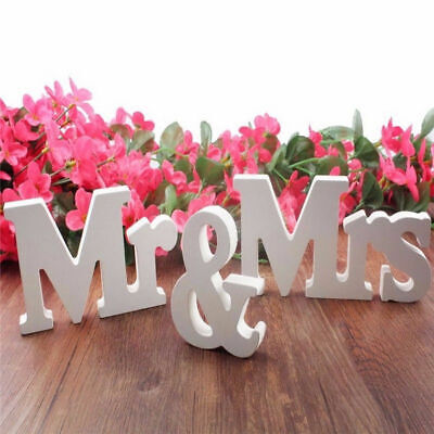 1pcs Mr & Mrs Wedding Letters PVC White Wooden Mr and Mrs Table Sign Decor Bag