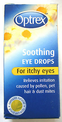 OPTREX SOOTHING  EYE DROPS 10ml - FOR ITCHY  EYES (ENGLISH STOCK) date
