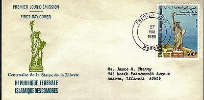 Comoros First Day Cover 1986 Centennial Of The Statue Of Liberty