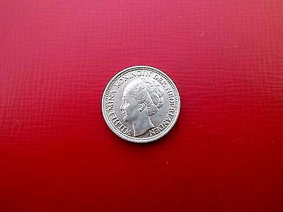 NETHERLANDS SILVER 10 CENTS COIN 1944 HIGH GRADE (ref4)