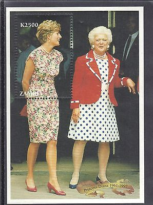 Zambia 1997 Mnh Princess Diana With Barbara Bush Souvenir Sheeet