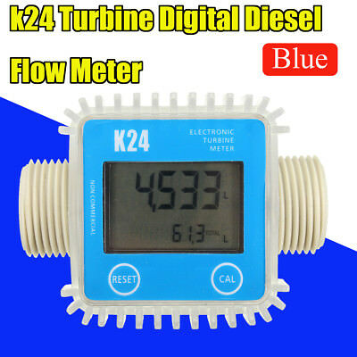 "K24 1"" LCD Digital Turbine Gauge For Diesel Chemicals Water Oil Fuel Flow Meter"