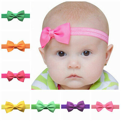 Baby Girls Hairband Bow Soft Head Elastic Band Headband Flower Hair Access (INT)
